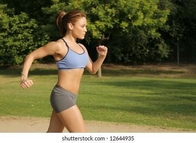 In Shape Girl Running Cross Country