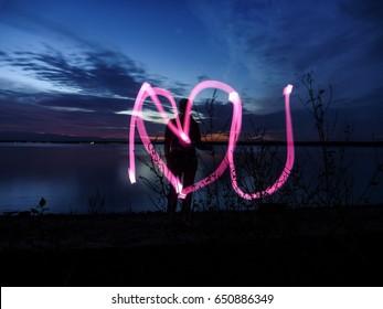 shape of heart - abstract Light Painting, i love u
