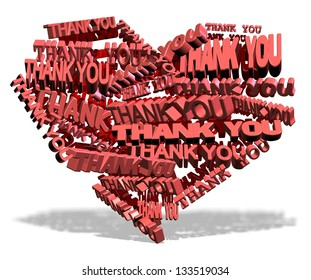 Shape of a heart made from words thank you / Thank you from heart