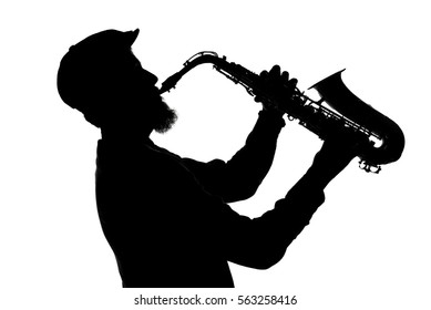 shape of jazz musician playing saxophone