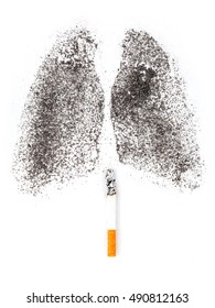 Shape of lungs with charcoal powder and cigarette on white background