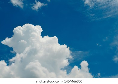 Shaped clouds like puppy is lifting feet, standing, playing, greeting the owner.
