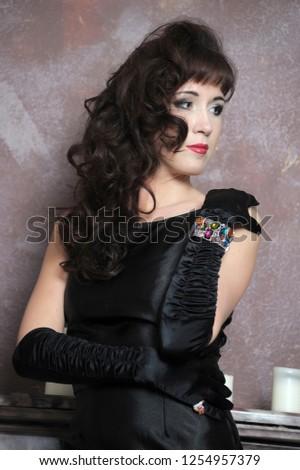 ea8ead548 Shapely Beautiful Elegant Brunette Black Dress Stock Photo (Edit Now ...