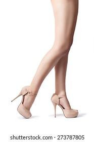 shapely female legs. Isolation on a white background.