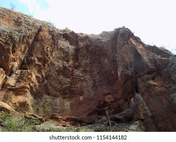 Shapes dug by time in a cliff