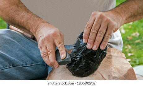shaping of obsidian through the process of lithic reduction to manufacture stone tools
