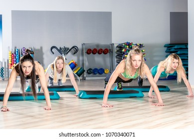 shaping, portrait of beautiful girls in the gym during a workout