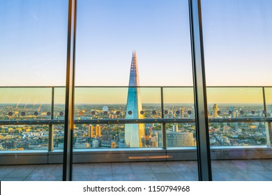 The Shard in London at sunset seen from inside of The Sky Garden - London,England, 5th August 2018