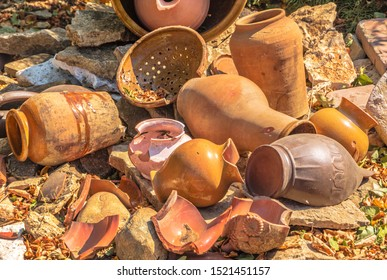 Shards of broken pottery - jugs and pots
