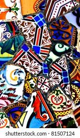 Shards of colored ceramics