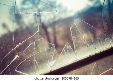 Shards of glass of a broken window