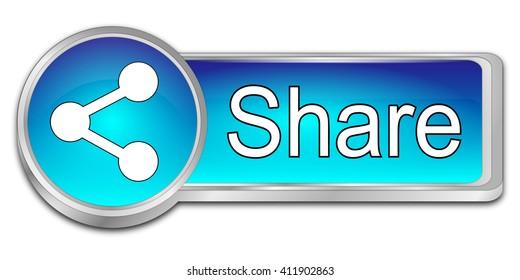 Share Button - 3D illustration
