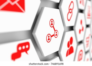 Share concept cell blurred background 3d illustration