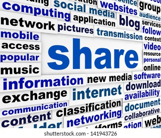 Share new media concept. Social media word clouds background design