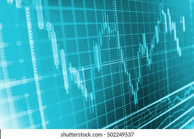 Share price candlestick chart. Stock diagram on the screen. Shallow DOF. Candle stick graph chart of stock market investment trading. Professional market analysis.