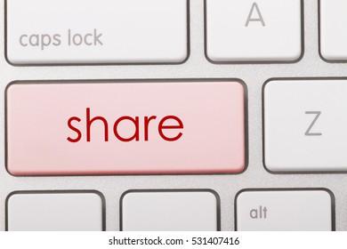 Share word written on computer keyboard.