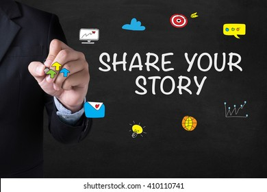 SHARE YOUR STORY Businessman drawing Landing Page on blurred abstract background