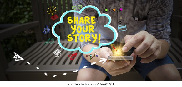 share your story  concept with drawn icons on mobile phone , business technology