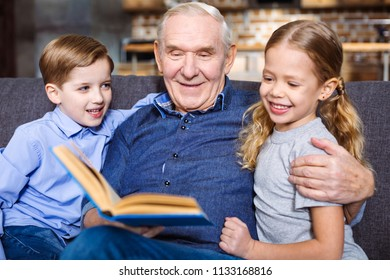 Share your wisdom. Positive elderly man reading a book for his grandchildren while resting at home