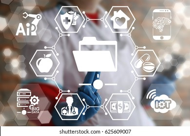 Shared folder medicine IoT, AI, DATA information technology integrate. Patient history health care web computing. Medical document case emr personal data healthy treatment technology. Data center.