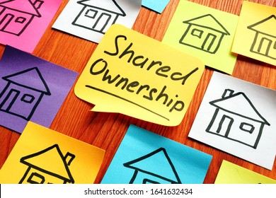 Shared ownership phrase and drawn houses.
