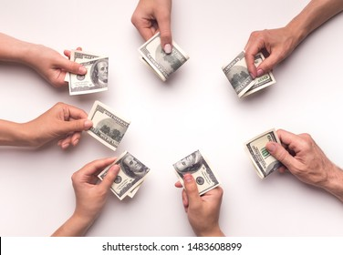 Shareholders deciding to collect big amount of money for crowdfunding on white background