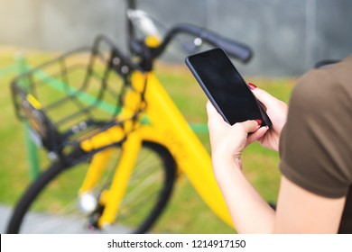 Sharing bicycle system in city, by Scan QR code and ride