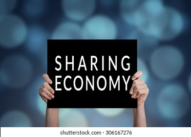 Sharing economy card with bokeh background