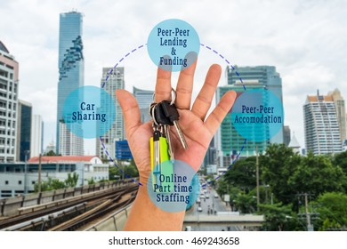 Sharing economy and collaborative consumption concept. Key ring and memory stick hook on hand with sharing economy components messages on blur city background.