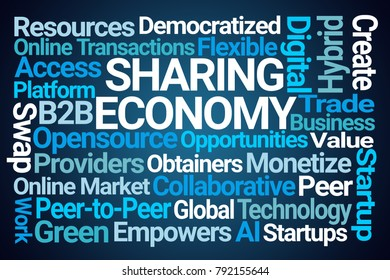 Sharing Economy Word Cloud on Blue Background