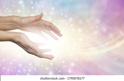 I am sharing pure healing energy with you - female healer sending out beautiful angelic energy against pale pink yellow blue background with space for messages