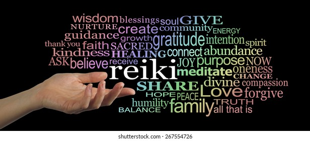 Sharing Reiki Word Cloud Banner    Female hand facing upwards gesturing towards the word 'reiki' floating off with a word cloud of healing words graduated with rainbow coloring on a black background