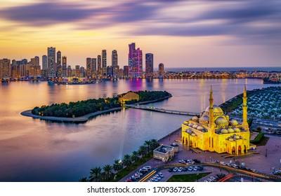 Sharjah City Skyline at Sunset &  Sharjah Lighting Festival