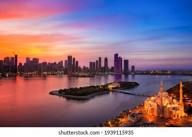 Sharjah City Skyline at Sunset  Sharjah Lighting Festival