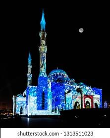 Sharjah Light Festival and Laser Show at Al Noor Mosque at Sharjah Cornice, Sharjah, United Arab Emirates
