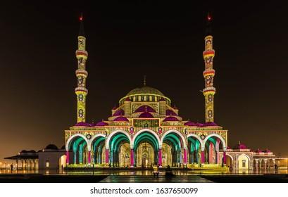 Sharjah Light Festival and Laser Show at Sharjah Mosque at Sharjah University City, Sharjah, United Arab Emirates