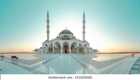Sharjah Mosque Famous Tourist Attraction in Dubai Second Largest Masjid in Dubai  Arabic Letter means:Indeed, prayer has been decreed upon the believers a decree of specified times, ramadan 2020 image