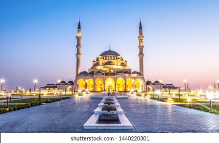 Sharjah New Mosque second biggest mosque United Arab Emirates beautiful traditional Islamic architecture new tourist attraction in Middle east