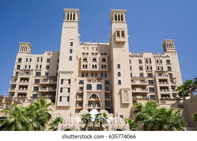 Sharjah. In the summer of 2016. Modern hotel building Sheraton Sharjah Beach Resort Spa in a green oasis on the shore of the Arabian Gulf.