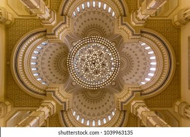 SHARJAH, UAE -DECEMBER 04, 2017: chandelier hanging from the dome of  Al Noor Mosque in Sharjah, UAE