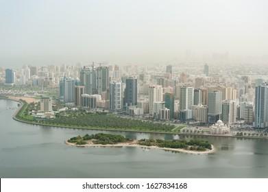 Sharjah / UAE - 9 May 2013: Aerial panorama of scenery Sharjah city downtown