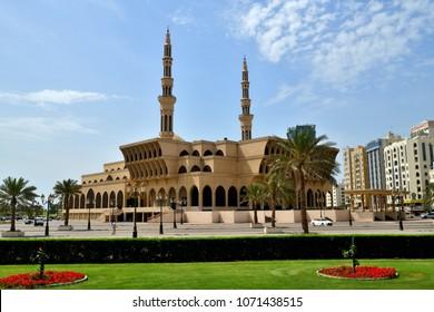 Sharjah, UAE - April 8. 2018. Malik Faisal Mosque in Emirate of Sharjah