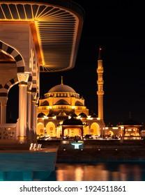 Sharjah, Sharjah, UAE - DEC 12th 2020: Al Sharjah Mosque that was just recently opened by H.H. Sheikh Sultan Al Qasimi