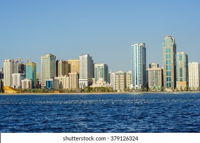 SHARJAH, UAE - FABRYARY 03, 2016: Sunset view of Sharjah lagoon, Sharjah is located along northern coast of Persian Gulf on Arabian Peninsula.