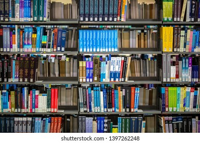 sharjah UAE - February 2019 : beautiful composition of books shelve in a library