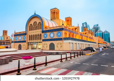 SHARJAH, UAE - MARCH 01, 2019: Blue Souk or Central Market is located in the centre of Sharjah city in United Arab Emirates or UAE