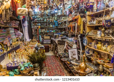 SHARJAH, UAE - MARCH 11, 2017: Small shop in Souq Al Arsah in Sharjah.