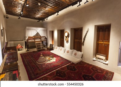 SHARJAH, UAE - NOV 28, 2016: Room of a Sheikh in the Al Hisn fort in the city of Sharjah, United Arab Emirates