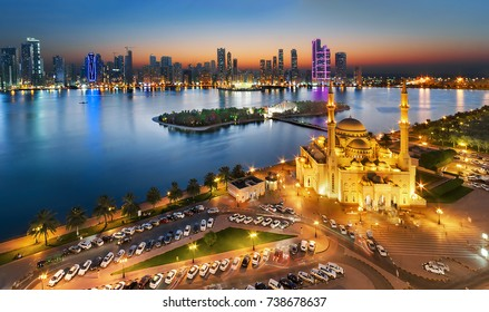 Sharjah, UAE Oct 13, 2017 Al noor Mosque from above in a blue hour time