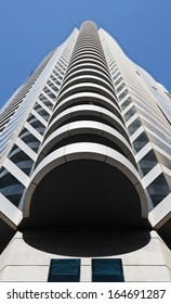 SHARJAH, UAE - OCTOBER 28, 2013: Modern buildings in Sharjah. It is the most industrialized emirate in UAE.